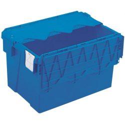 Cubeta apilable encajable con tapa integrada 65 L, 60 cm x 40 cm x 36,5 cm