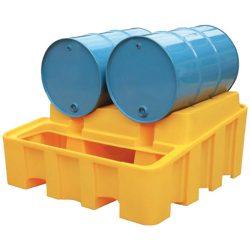 Cubeta de retención en polietileno para 2 bidones con puesto de trasiego, 450 litros 137,5 cm x 135 cm x 63,5 cm