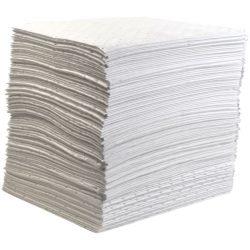 """100 hojas absorbentes hidrocarburos """"Premier"""" doble espesor con capa de refuerzo en un lado. 41 cm x 46 cm"""