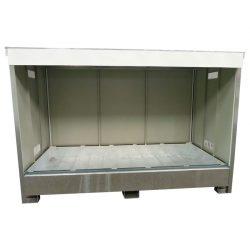 Contenedor abierto en acero galvanizado 2 contenedores revestido PE, 1100 L 295,8 cm x 146,6 cm x 195,5 cm