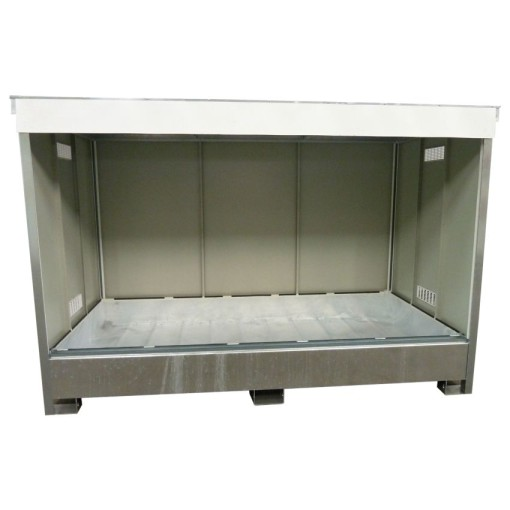 Contenedor abierto en acero galvanizado 2 contenedores, 1100 L 295,8 cm x 146,6 cm x 248,7 cm 1
