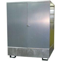 Contenedor exterior en acero galvanizado 2 bidones, 220 L 135 cm x 95 cm x 166,4 cm