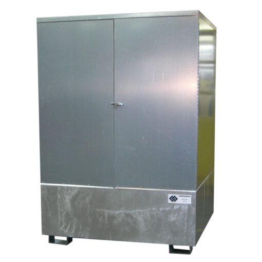 Contenedor exterior en acero galvanizado 1 IBC, 1000 L 150 cm x 138 cm x 194 cm 1