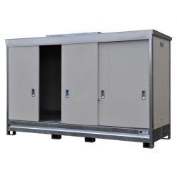 Contenedor en acero galvanizado 3 contenedores revestido PE, 1500 L 398,3 cm x 146,6 cm x 254 cm