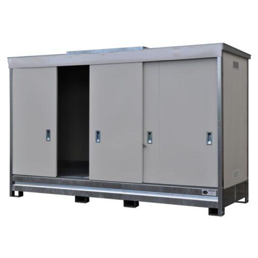 Contenedor en acero galvanizado 3 contenedores, 1500 L 398,3 cm x 146,6 cm x 254 cm 1
