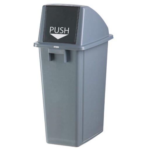 Papelera de plástico color Gris con tapa 'Push' para recogida selectiva 60 L, 45 cm x 33 cm x 79 cm 1
