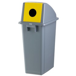 Papelera de plástico color Gris con tapa trampa 'botella' para recogida selectiva 60 L, 45 cm x 33 cm x 79 cm