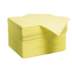 """100 hojas absorbentes productos químicos """"Premier"""" doble espesor con capa de refuerzo en un lado. 41 cm x 46 cm"""
