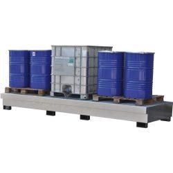 Cubeta de retención en acero galvanizado para 3 GRG/IBC´s, 1500 litros 391 cm x 142 cm x 39,7 cm