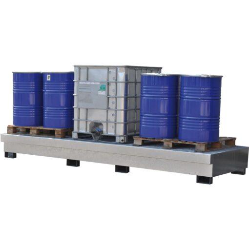 Cubeta de retención en acero galvanizado para 3 GRG/IBC´s, 1500 litros 391 cm x 142 cm x 39,7 cm 1