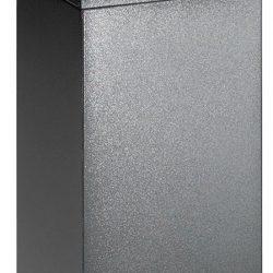 Papelera metálica color Gris Oscuro de diseño con tapa color Amarillo para recogida selectiva 55L, 32 cm x 32 cm x 80 cm