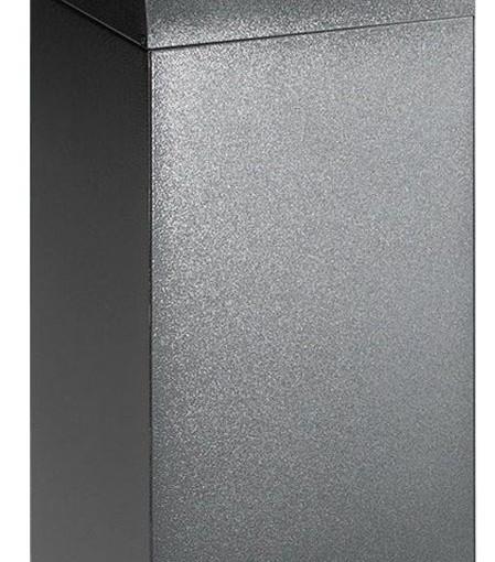 Papelera metálica color Gris Oscuro de diseño con tapa color Amarillo para recogida selectiva 55L, 32 cm x 32 cm x 80 cm 1