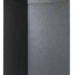 Papelera metálica color Gris Oscuro de diseño con tapa color Azul para recogida selectiva 55L, 32 cm x 32 cm x 80 cm