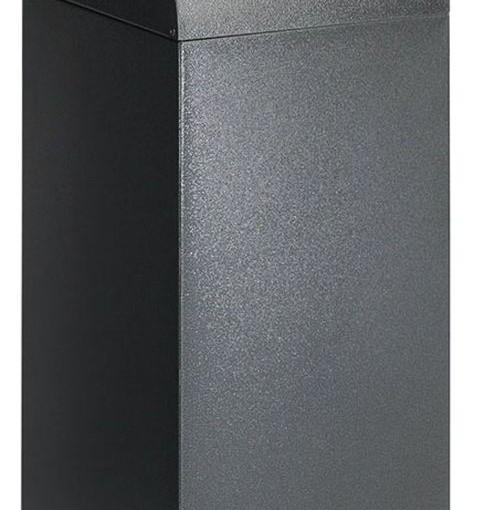 Papelera metálica color Gris Oscuro de diseño con tapa color Azul para recogida selectiva 55L, 32 cm x 32 cm x 80 cm 1
