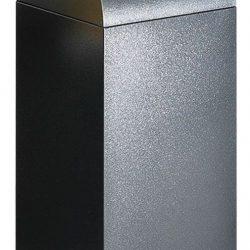 Papelera metálica color Gris Oscuro de diseño,tapa color Gris Claro para recogida selectiva 55L, 32 cm x 32 cm x 80 cm