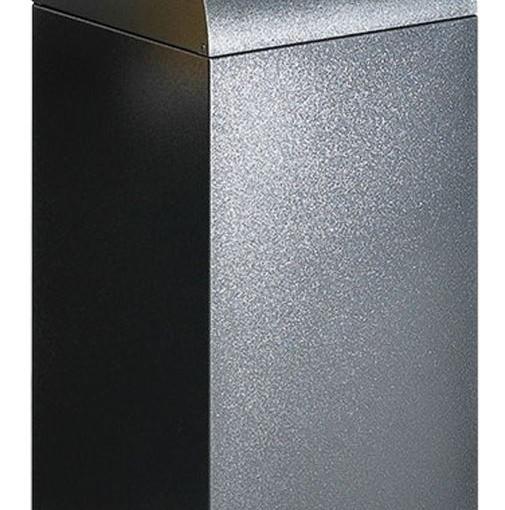 Papelera metálica color Gris Oscuro de diseño,tapa color Gris Claro para recogida selectiva 55L, 32 cm x 32 cm x 80 cm 1