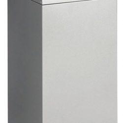 Papelera metálica color Gris Claro de diseño, tapa color Gris Oscuro para recogida selectiva 55L, 32 cm x 32 cm x 80 cm