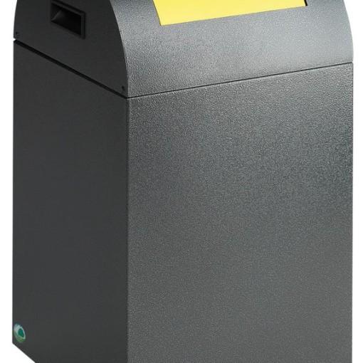 Papelera metálica color Gris Oscuro de diseño, tapa color Amarillo para recogida selectiva 40L,  32 cm x 32 cm x 60 cm 1