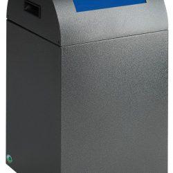 Papelera metálica color Gris Oscuro de diseño con tapa color Azul para recogida selectiva 40L,  32 cm x 32 cm x 60 cm