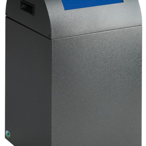 Papelera metálica color Gris Oscuro de diseño con tapa color Azul para recogida selectiva 40L,  32 cm x 32 cm x 60 cm 1