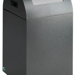 Papelera metálica color Gris Oscuro de diseño, tapa color Gris Claro para recogida selectiva 40L,  32 cm x 32 cm x 60 cm