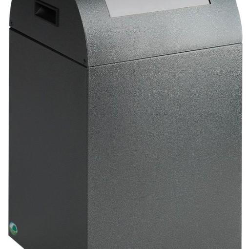 Papelera metálica color Gris Oscuro de diseño, tapa color Gris Claro para recogida selectiva 40L,  32 cm x 32 cm x 60 cm 1