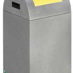 Papelera metálica color Gris Claro de diseño con tapa color Amarillo para recogida selectiva 40L,  32 cm x 32 cm x 60 cm