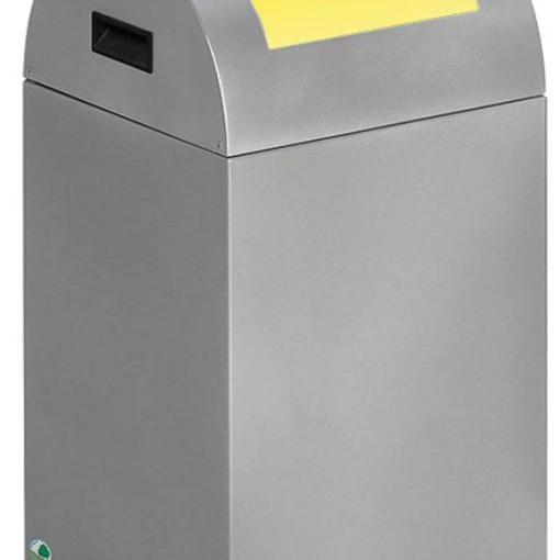 Papelera metálica color Gris Claro de diseño con tapa color Amarillo para recogida selectiva 40L,  32 cm x 32 cm x 60 cm 1
