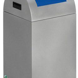 Papelera metálica color Gris Claro de diseño con tapa color Azul para recogida selectiva 40L,  32 cm x 32 cm x 60 cm