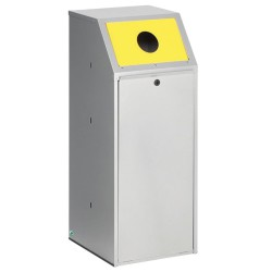 Papelera metálica color Gris con frontal basculante  para recogida selectiva 69L, color Amarillo 40 cm x 40 cm x 100 cm