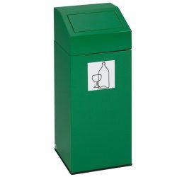Papelera metálica color Verde con tapa removible para recogida selectiva 45L, 32 cm x 32 cm x 79 cm