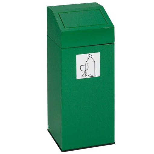 Papelera metálica color Verde con tapa removible para recogida selectiva 45L, 32 cm x 32 cm x 79 cm 1
