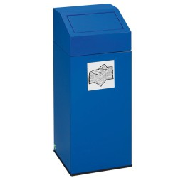 Papelera metálica color Azul con tapa removible para recogida selectiva 45L, 32 cm x 32 cm x 79 cm