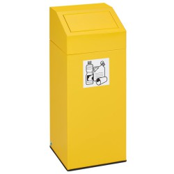 Papelera metálica color Amarillo con tapa removible para recogida selectiva 45L, 32 cm x 32 cm x 79 cm