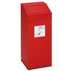 Papelera metálica color Rojo con tapa removible para recogida selectiva 45L, 32 cm x 32 cm x 79 cm