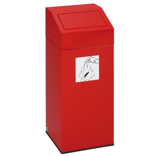 Papelera metálica color Rojo con tapa removible para recogida selectiva 45L, 32 cm x 32 cm x 79 cm 1