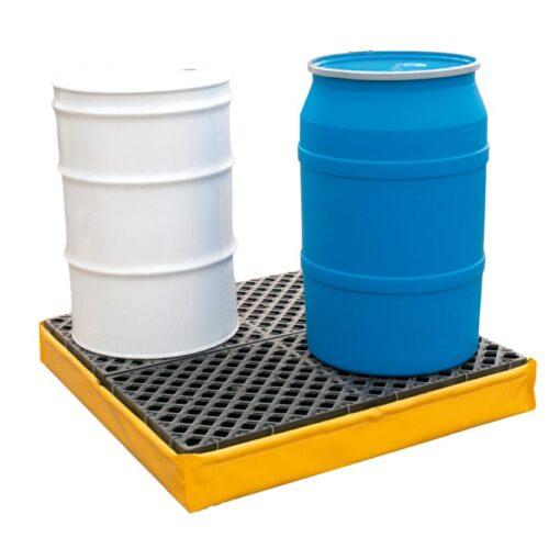 Cubeta de retención flexible de PVC para 4 bidones, 250 litros 121,9 cm x 121,9 cm x 17,8 cm 1