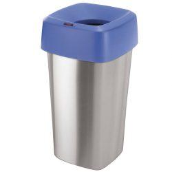 Tapa embudo color Azul para papelera  aspecto inox  60L,  39 cm x 39 cm x 15 cm