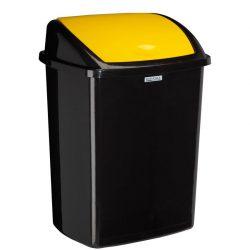 Papelera en plástico color Negro 50 L con tapa en Amarillo  basculante 31,5 cm x 40,3 cm x 55,8 cm