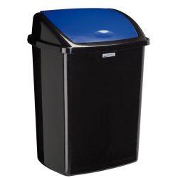 Papelera en plástico color Negro 50 L con tapa en Azul basculante 31,5 cm x 40,3 cm x 55,8 cm