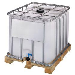 Cuba de almacenamiento 800 litros con palet de madera 120 cm x 100 cm x 100 cm