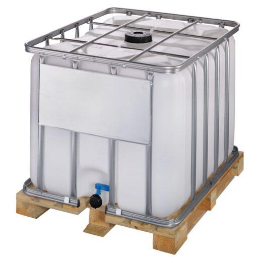 Cuba de almacenamiento 800 litros con palet de madera 120 cm x 100 cm x 100 cm 1