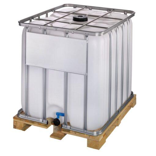 Cuba de almacenamiento 1000 litros con palet de madera 120 cm x 100 cm x 116,4 cm 1