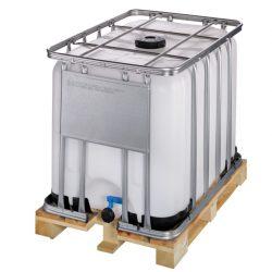 Cuba de almacenamiento homologada 600 litros con palet de madera  120 cm x 80 cm x 101,3 cm