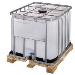 Cuba de almacenamiento homologada 800 litros con palet de madera 120 cm x 100 cm x 100 cm