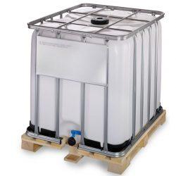 Cuba de almacenamiento homologada 1000 litros con palet de madera 120 cm x 100 cm x 116,4 cm