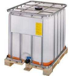 Cuba de almacenamiento homologada ATEX 1000 litros con palet de madera 120 cm x 100 cm x 116,4 cm