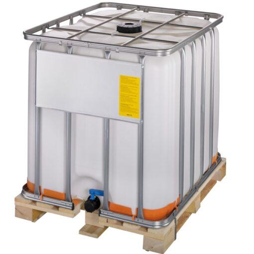 Cuba de almacenamiento homologada ATEX 1000 litros con palet de madera 120 cm x 100 cm x 116,4 cm 1
