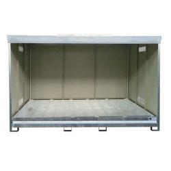 Contenedor abierto en acero galvanizado 3 contenedores revestido PE, 1500 L 398,3 cm x 146,6 cm x 254 cm