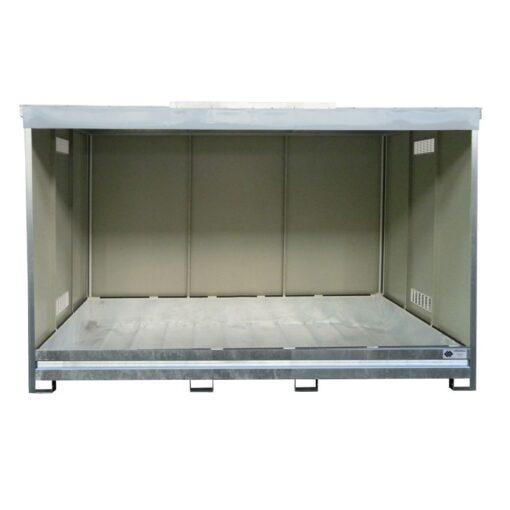 Contenedor abierto en acero galvanizado 3 contenedores revestido PE, 1500 L 398,3 cm x 146,6 cm x 254 cm 1